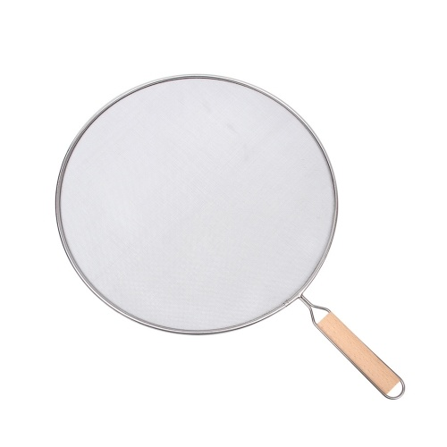 Stainless Steel Splatter Screen with Fine Mesh Wooden Grip Handle Kitchen Accessories for Frying Pan Wok Grease and Oil Cooking Splashes (8.3'')