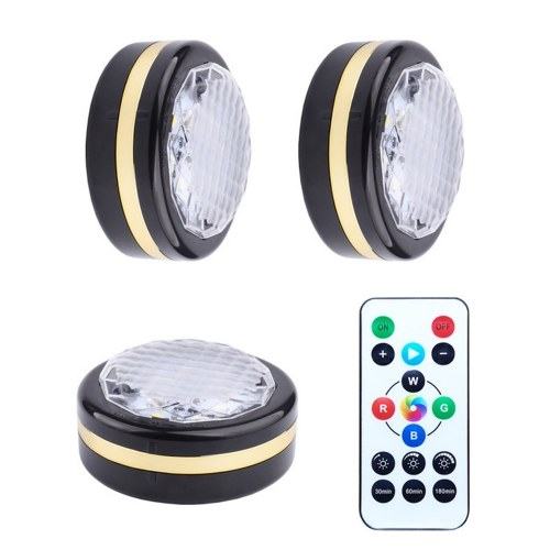 Batterys Operated Under Cabinet Lights Dimmable LEDs Puck Light with Remote for Kitchen RGBW Colors Changing Closet Lights Under Counter Lighting