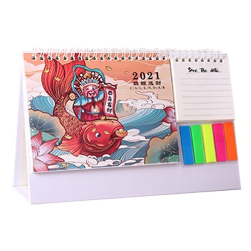 Cartoon Desk Calendar Mensile In Piedi Coil Calendario Tabella