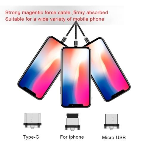 Магнитная линия передачи данных три в одном 360-градусный магнитный круговой зарядный кабель для Android типа фруктов Рыболовная сеть серая линия яблочная голова (1 м) фото