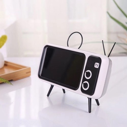Retro TV TV Bluetooth Speaker Outside Outdoor Creative Mobile Phone Stand Small Sound Creative Subwoofer PTH800 Silver