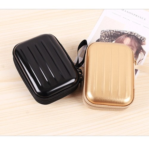 Creative Square Zipper Bag Headset Key Ring Storage Box Tinplate Storage Coin Purse Metal Case