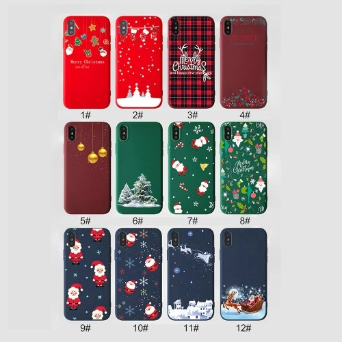 Christmas Style Custom Soft Colored Drawing Phone Case Fit For  iphone X/XS