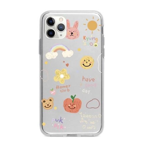 Transparente weiche TPU-Telefonhülle mit niedlichem Cartoon-Design Ganzkörper-Anti-Rutsch-Handyhülle Flower Smile Face Rabbits Regenbogen-Rückabdeckung Stoßstange Stoßfeste Hülle für das iPhone