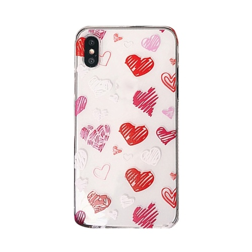 Phonecase Transparent Red Heart Shaped Designs Soft TPU Cover Phone Shells Shockproof Slim Flexible Protective Anti-Slip Cell Phone Cover for iphone