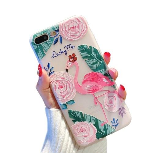 Telefonhülle Frosted Flamingo and Flowers Designs Weiche TPU-Abdeckung Telefonhüllen Stoßfeste, schlanke, flexible, rutschfeste Handyhülle für das iPhone