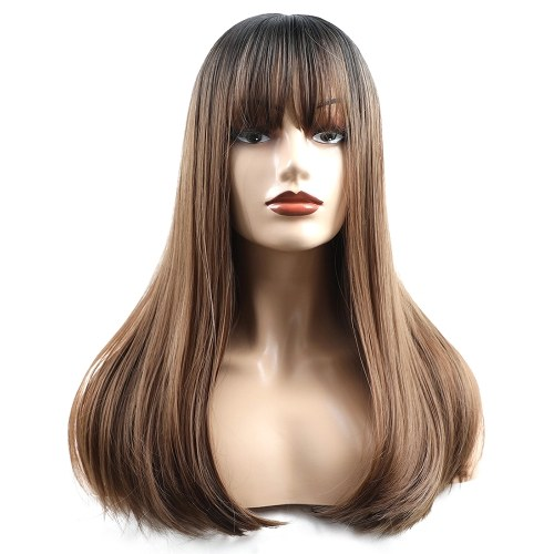 20 Inches Hair Wig Long Straight Silky Synthetic Heat Resistant Hair Wigs for Women