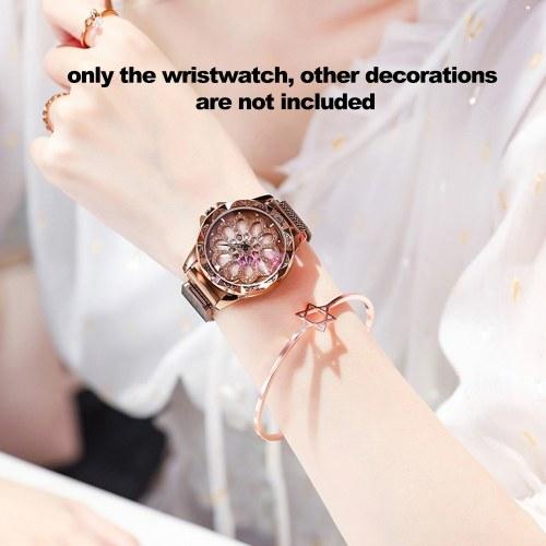 Image of Weibliche Armbanduhr analoge Quarz-Legierung Armbanduhr Armband mit geschnitzten Diamant-Zifferblatt magnetischen Mesh-Band für Damen