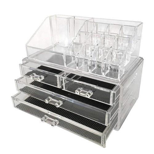 Estojo de armazenamento de acrílico transparente para batom Estojo de armazenamento de joias de mesa com gaveta