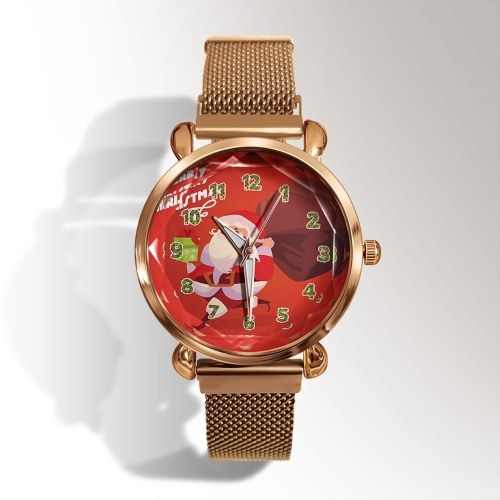 Christmas Eve Letters Festive Fashion Student Female Trend Magnetic Clasp Gold Shell Watch Quartz Watch 16
