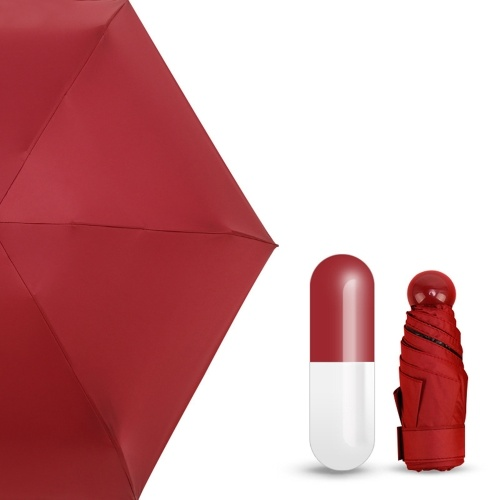 Image of Mini-Kapsel-Regenschirm Reisetasche Regen Starker wasserabweisender Zweifach-Regenschirm mit fünf Falten