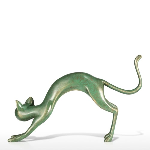 Stretching Cat Tomfeel Fiberglass Sculpture Home Decoration Original Design Cat