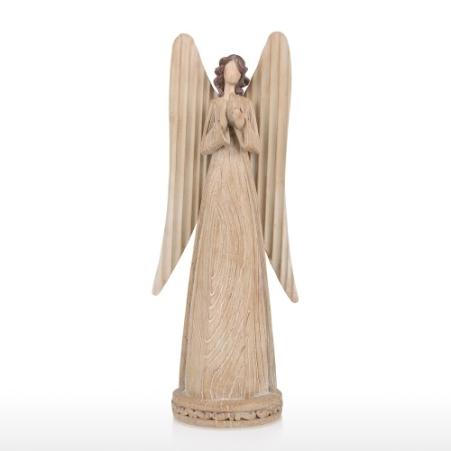 Tooarts Angel Statue Serene and Peaceful Angel Resin Art Sculpture Home Decoration Piano Decor Imitate Woodgrain Carving Christmas Gift 14.5 inches