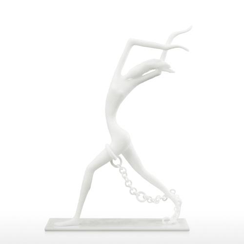 Persona limitada con cadena Escultura 3D Impreso Estatuilla humana Decoración de escritorio Escultura abstracta Estatua