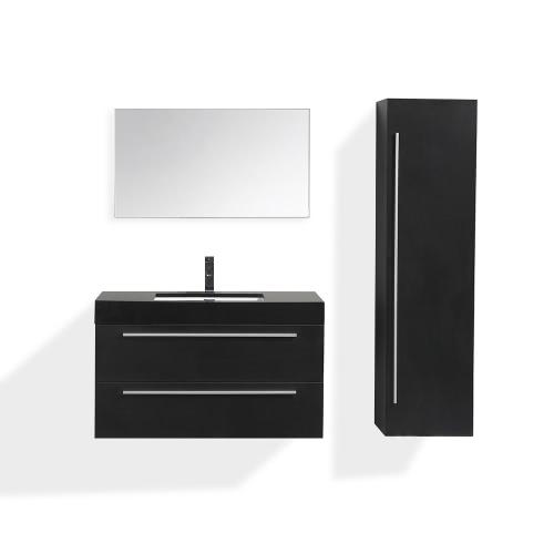 Meuble de salle de bain simple vasque en bois coloris Noir