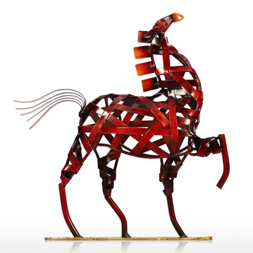 Tooarts Metal Sculpture Metal weaving horse Home Furnishing Articles Handicrafts
