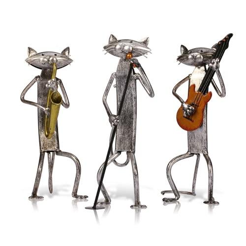 Tooarts Metal Sculpture A Singing Cat Home Furnishing Articles Handicrafts