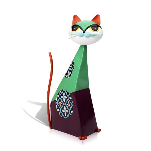Tooarts Fortune Cat Sculpture (Green) Metal sculptrue Iron sculpture Abstract sculpture Crafting Home furnishing articles Decoration Art