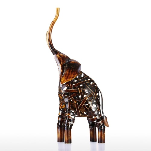 Tooarts Metal Weaving Elephant Iron Sculpture Décoration d'intérieur Crafts Sculpture animale