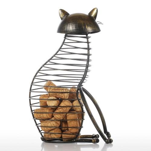 Tooarts Cat Wine Cork Container Home Decor Hierro Artesanía Regalo Artesanía Animal Ornamento