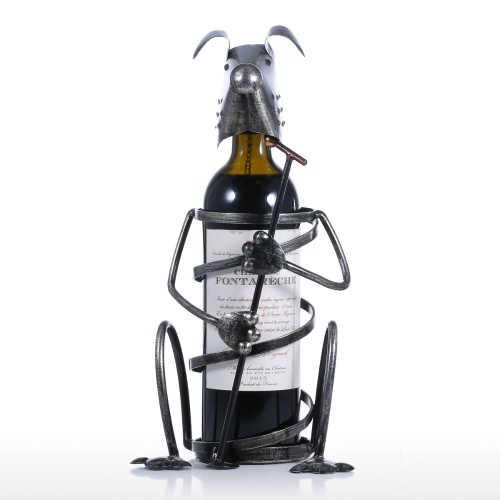 Puppy Wine Rack with Microphone Iron Animal Figurine Creative Wine Rack Practical Ornament Craft Gift