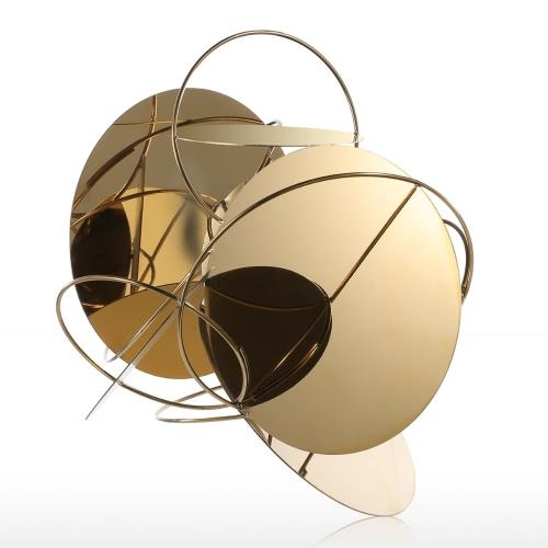 Tooarts Golden Mirror Modern Sculpture Abstrait Ornement En acier inoxydable Sculpture Décoration d'intérieur