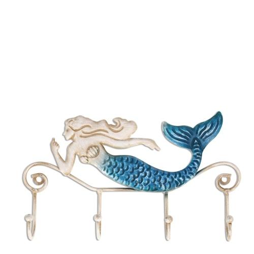 Tooarts Iron Mermaid Wandhalter Eisen Wandhaken 4 Haken für Mäntel Handtaschen Taschen Wandhalterung Kleiderhalter Schrauben enthalten