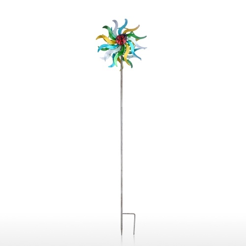 Fer Art Craft Outdoor 3D Tournesol Wind Spinner avec solide matériel de fer peinture réfléchissante et fonction anti-rouille Moulin à vent pour jardin extérieur pelouse décorations de jardin