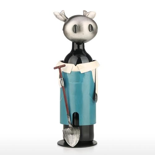 Idyllische Kuh Weinregal Vintage Pickup Kuh Weinflaschenhalter Statue oder dekorative Weinhalter