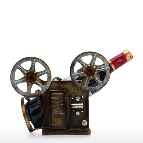 Tooarts Proyector retro Estante para vino Decoración de arte de mesa Estante para vino creativo Material de hierro resistente Estante artesanal para exhibición y almacenamiento Estante para el hogar Decoración para el hogar