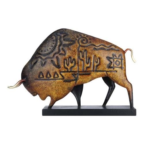 Tooarts Animal Sculpture Iron American Bison Sculpture Art Ornament Native American Culture Buffalo Home DecorationVintage Crafts Gift