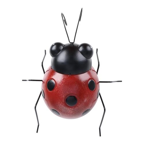Tooarts Ladybug Decoración de pared Hierro Mariquita de dibujos animados Diversión Decoración Artesanía Jardín o Habitación de niños Decoración Estilo de granja natural