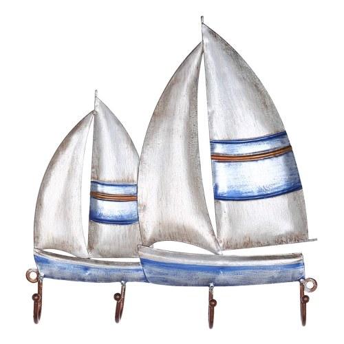 Tooarts Segelboot Wandhaken Eisenbügel 4 Haken für Mäntel Taschen Wandhalterung Kleiderhalter Dekoratives Geschenk