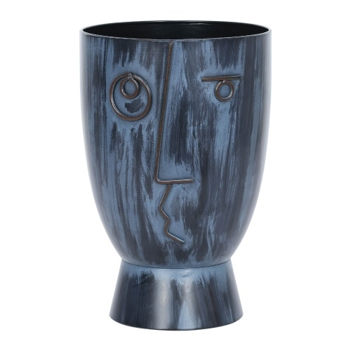 Tomfeel Iron Flower Pots Nordic Style Human Face Abstract Painting Ethnic Handicrafts Balcony Living Room Potted Green Plants Vase Decoration Storage Blue