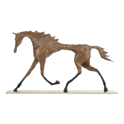 Tooarts cheval hommage à Giacometti en laiton cheval Sculpture exquise artisanat maison et bureau ornement Art moderne Figurine Collection cadeau marron