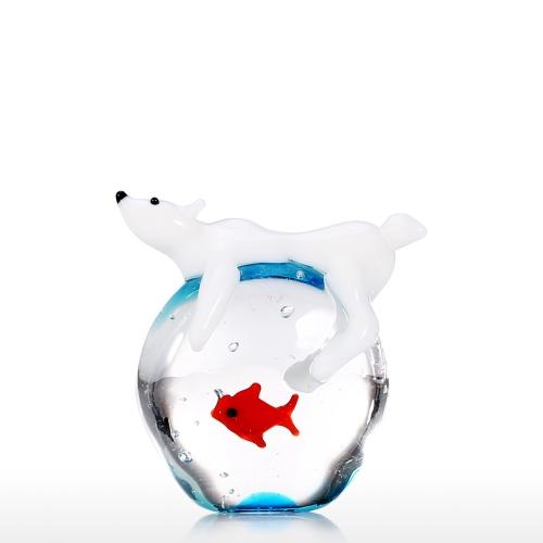 Polar Bear and Fish Handmade Animal Art Hand Blown Glass Art Wild Animal Figurine Home Decoration