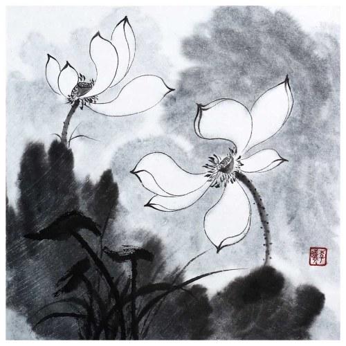 Tooarts Puro y Noble Lotus Pintura China Arte de la pared Artista Pintado a mano Pincel chino Pintura Decoración tradicional Decoración de oficina en casa Pintura Empaque