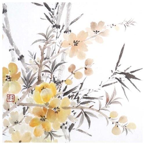 Tooarts Provoke Primavera Pintura china de flores Arte de la pared Artista Pintado a mano Pincel chino Pintura Decoración tradicional Decoración de la oficina en casa Pintura Empaquetado cuidadosamente