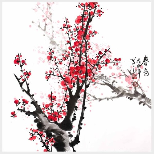Traditional Chinese Painting The Beauty of Spring Red Plum Blossom Wall Art Flowers Painting for Living Room Wall Decor Home Decoration