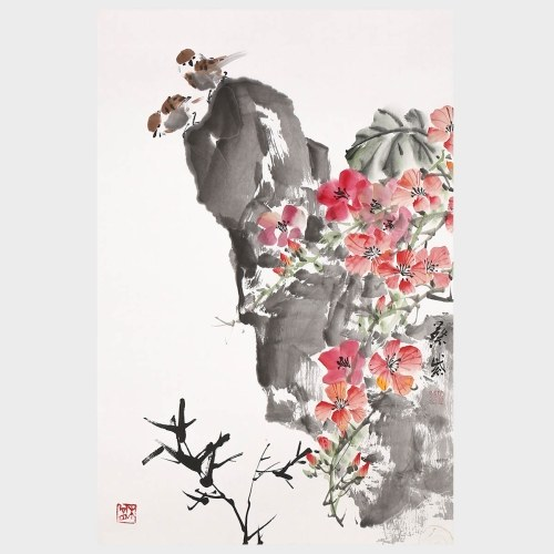Bird Stand in High Traditional Chinese Painting Natural Art Bird and Flower Painting Wall Art Landscape Painting