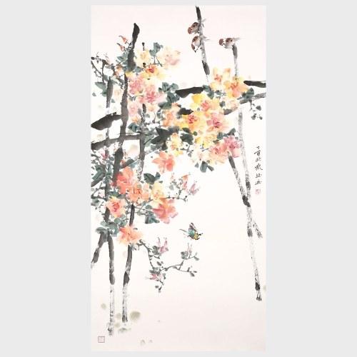 Tout va bien toute l'année ronde fleur et oiseau peinture originale peinture à la main oeuvre oeuvre décoration murale