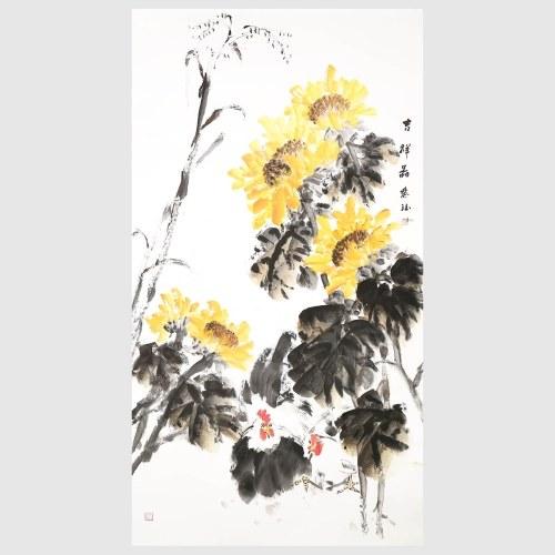 Chicken and Chrysanthemum Chinese Ink Painting 100% Original Handmade Artwork Wall Art for Office Home Decor Hanging Art