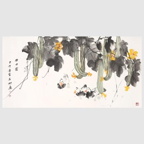 Canard sous le Melon Shade Art naturel Peinture 100% peint à la main oeuvre Art mural pour décoration