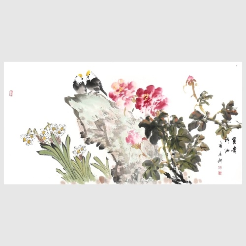 Peony and Bird Flower and Bird Painting Pictures Print Wall Decor Hand Painted Artwork for Living Room Home Office