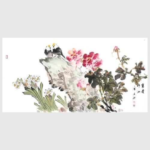 Pivoine et oiseau fleurs et oiseaux peinture photos impression murale décor peint à la main oeuvre pour salon Home Office
