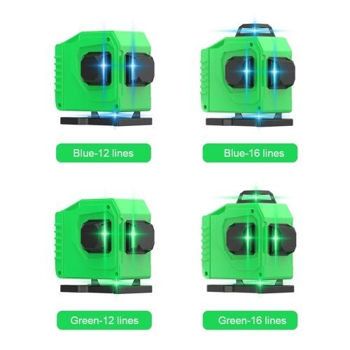 赤外線レーザーレベル12ライン3D 16ライン4Dクロスライングリーンブルーレーザービーム垂直および水平セルフレベリングクロスライン強力なリモートコントロール