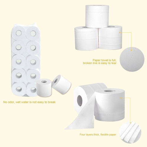 Large Capacity 10 Rolls Domestic Use 4-Layer The Original Wood Pulp Paper Towel