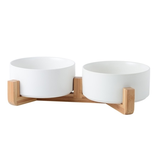 Cat bowl Medium15.5cm Straight bowl white 2 (with [wood] rack double bowl type)