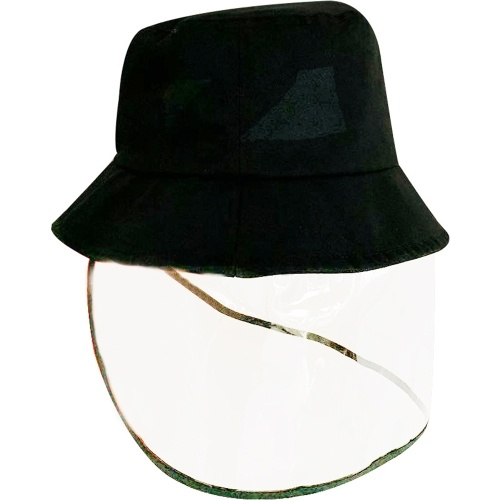 Protective Bucket Hat Anti-fog Anti-virus Full Face Removable Transparent Dust-proof Mask Fisherman Cap M(56-58cm)