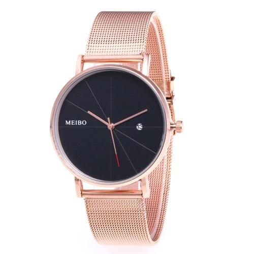 Montre-bracelet de calendrier de montre à quartz élégante décontractée d'affaires décontractée avec bracelet en tricot or rose